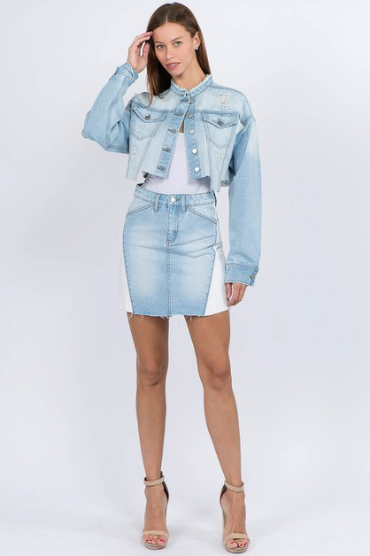DENIM COLOR BLOCK SKIRTS JACKETS SET - orangeshine.com