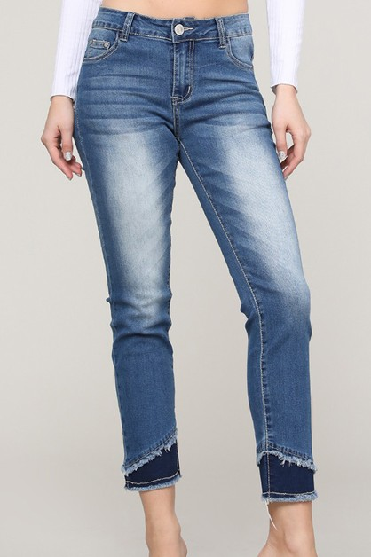 DOUBLE LAYERED HEM DENIM JEANS - orangeshine.com