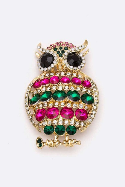 Crystal Iconic Owl Brooch - orangeshine.com