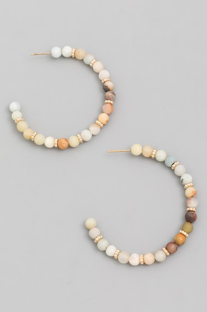 Stone Bead Hoop Earrings - orangeshine.com
