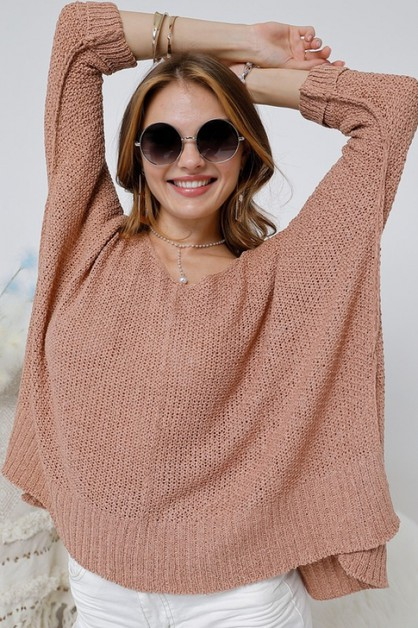 V NECK SOLID  LOOSE FIT SWEATER - orangeshine.com