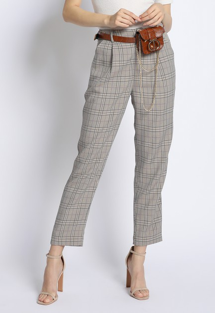 PLAID PLEATED PANTS - orangeshine.com