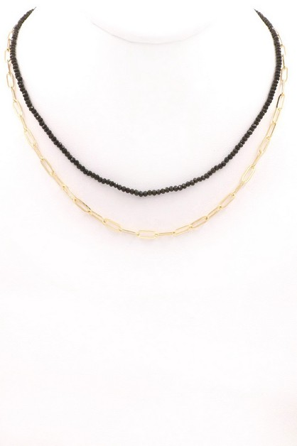 Faceted Bead Chain Necklace - orangeshine.com