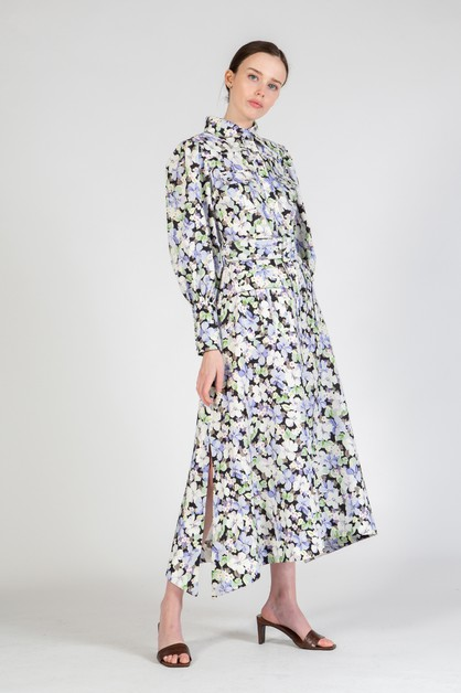 Maxi Dress with a Floral Print - orangeshine.com