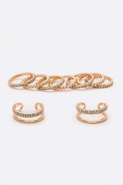 Crystal Mix 9 PC Ring Set - orangeshine.com