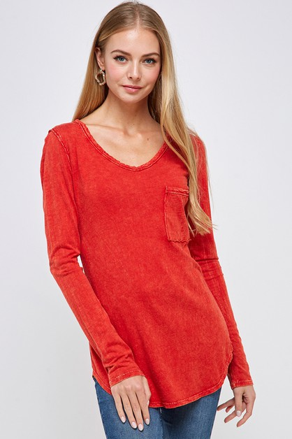 Front bust pocket round neck T shirt - orangeshine.com