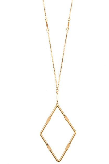 ELONGATED DIAMOND PENDANT NECKLACE  - orangeshine.com
