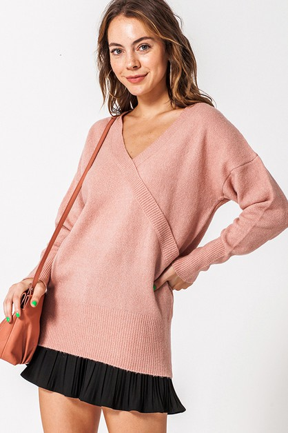 V NECK WRAP FRONT LONGSLEEVE SWEATER - orangeshine.com