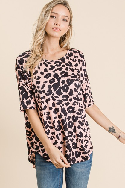 RELAXED FIT ANIMAL PRINT TOP  - orangeshine.com