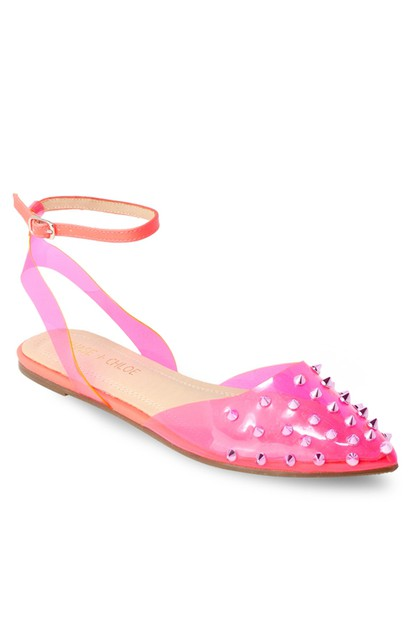 Studded Flat Pointed Toe Pum Sandals - orangeshine.com
