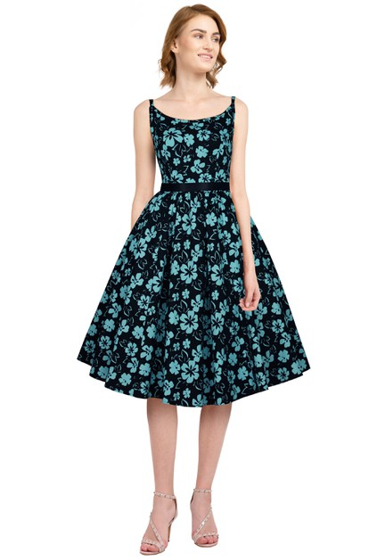 Plus Size Black/Floral Strap Retro Dress - orangeshine.com