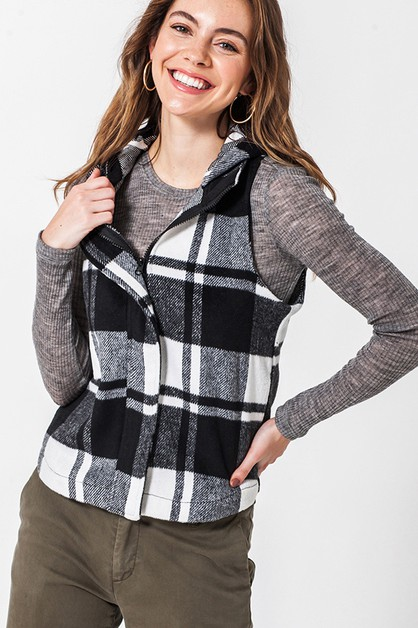 BUFFALO PLAID VEST WITH HOOD - orangeshine.com