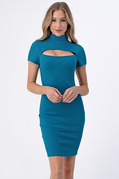 CUT OUT SHORT SLEEVE MOCK NECK DRESS - orangeshine.com