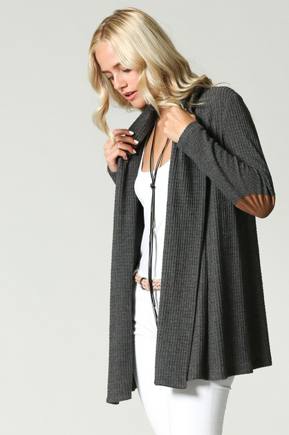 SUEDE ELBOW PATCH CARDIGAN - orangeshine.com