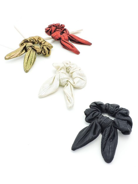 Ribbed Metallic Scrunchie Bows - orangeshine.com