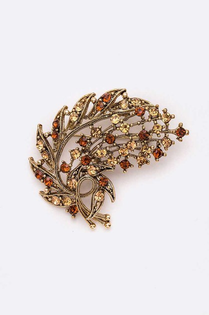 Crystal Iconic Leaf Brooch Pin - orangeshine.com