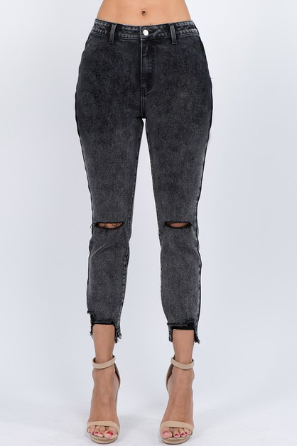 STONE WASHED HIGH WAIST SKINNY JEANS - orangeshine.com