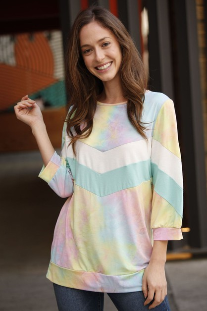 Chevron Tie Dye Two Tone Tunic - orangeshine.com