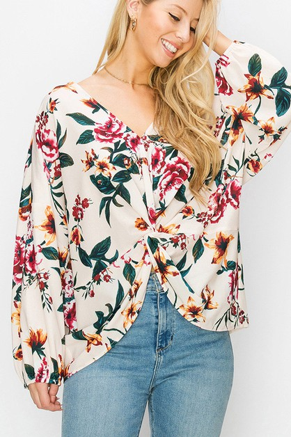 FLORAL PRINT LONG SLEEVE KNOT BLOUSE - orangeshine.com
