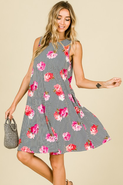 FLORAL STRIPE MIX SLEEVELESS DRESS - orangeshine.com