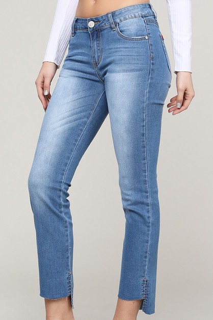 HI-LOW HEM DENIM JEANS  - orangeshine.com