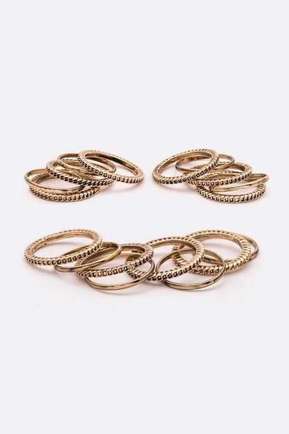 18 PC Mix Texture Ring Set - orangeshine.com