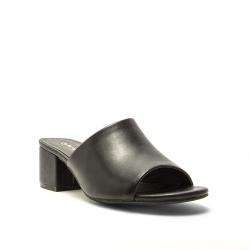 Qupid Block Heel Slide Sandals - orangeshine.com