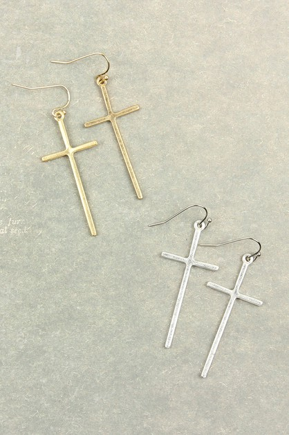 CAST CROSS HOOK DROP EARRINGS - orangeshine.com
