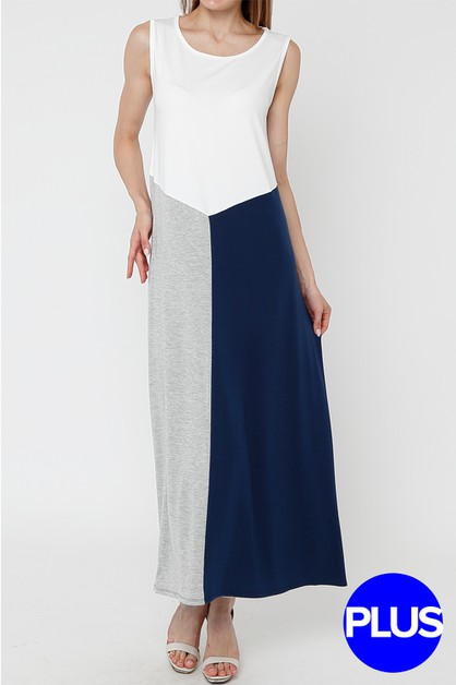 Color Block Sleeveless Maxi Dress - orangeshine.com