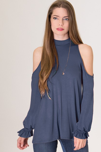 Jersey Cold Shoulder Smocked Sleeve  - orangeshine.com
