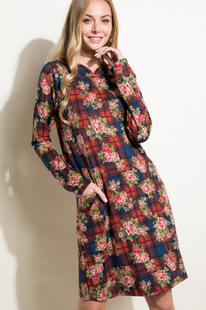 FLORAL PLAID SIDE PK HOODIE DRESS - orangeshine.com