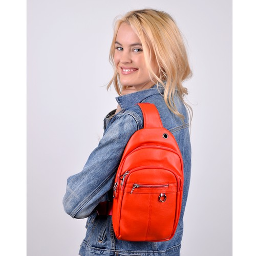 PU Leather Red Crossbody Bag - orangeshine.com