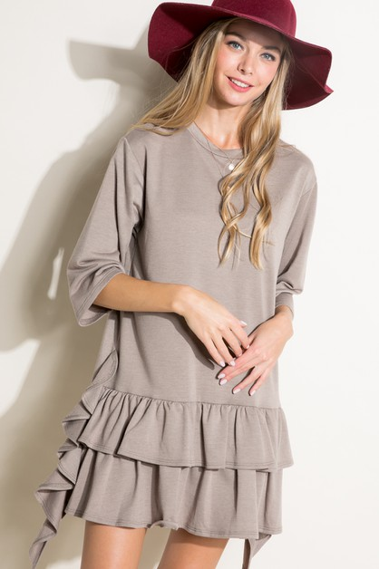 SOLID TERRY RUFFLE BOXY MINI DRESS - orangeshine.com