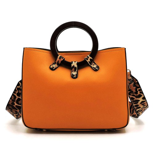 Wood Round Top Handle Satchel - orangeshine.com