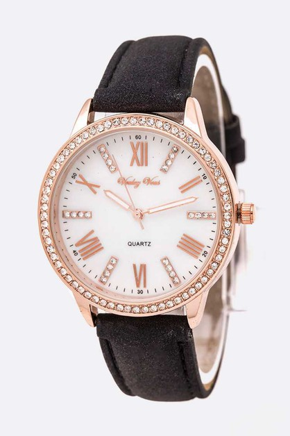 Crystal Bezel Roman Number Leather B - orangeshine.com