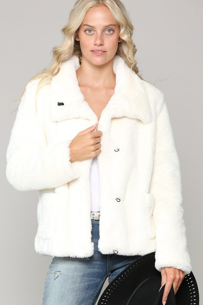 ULTRA SOFT FAUX FUR JACKET - orangeshine.com
