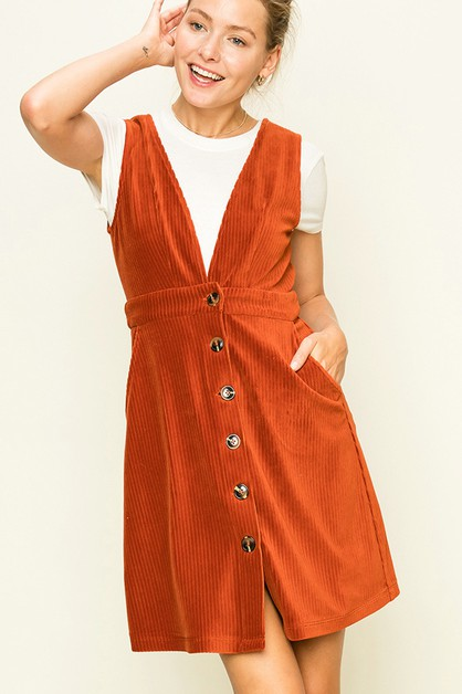 CORDUROY DEEP V BUTTON DOWN DRESS - orangeshine.com