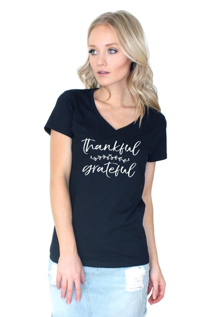 Thankful Grateful V Neck Top - orangeshine.com