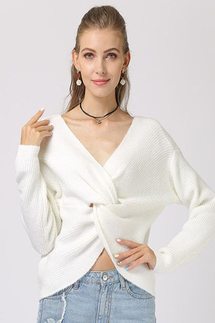 V-neck long-sleeved sweater - orangeshine.com