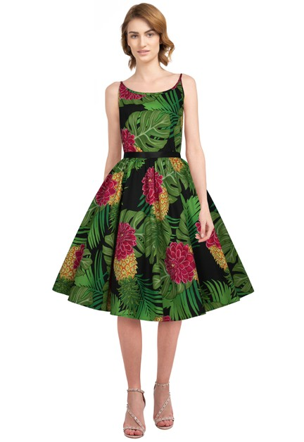Plus Size Green Leaf Strap Retro Dress - orangeshine.com