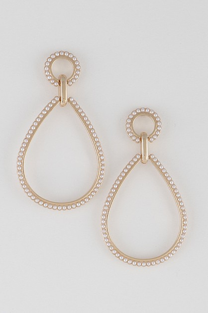 Open Cut Teardrop Pearl Drop Earring - orangeshine.com