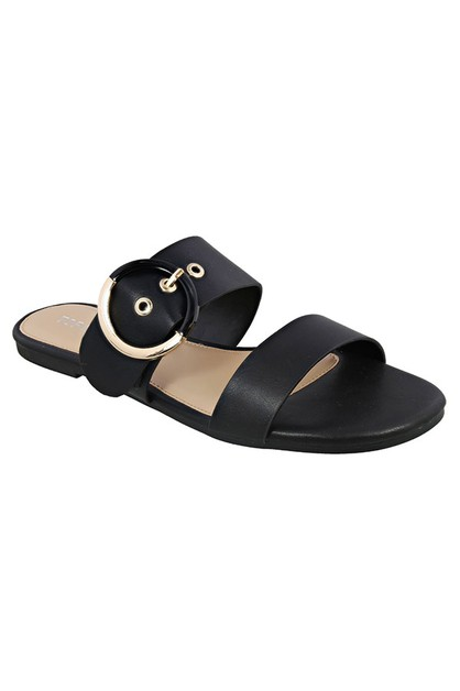 PU FLAT SLIP ON OPEN SANDAL WITH BUC - orangeshine.com