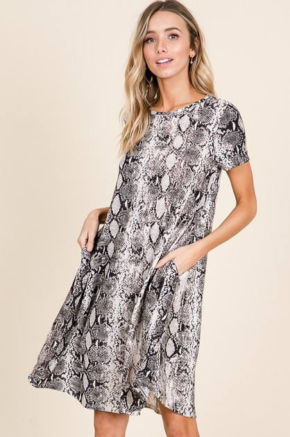 SNAKESKIN PRINT SHORT SLEEVE DRESS - orangeshine.com