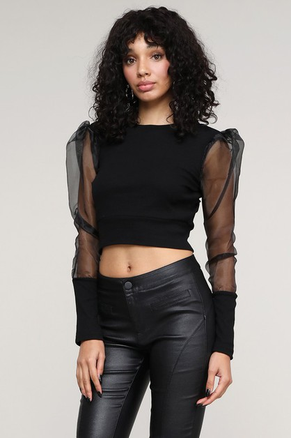 Top Selling Mesh Sleeve Crop Top - orangeshine.com
