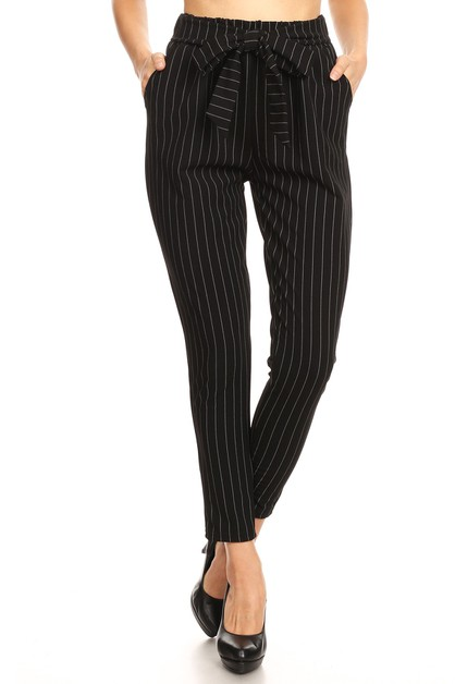 Black Stripes Casual Pants Skinny - orangeshine.com
