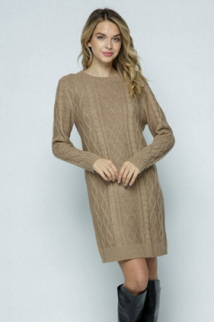 CHUNKY CABLE KNIT SWEATER DRESS - orangeshine.com