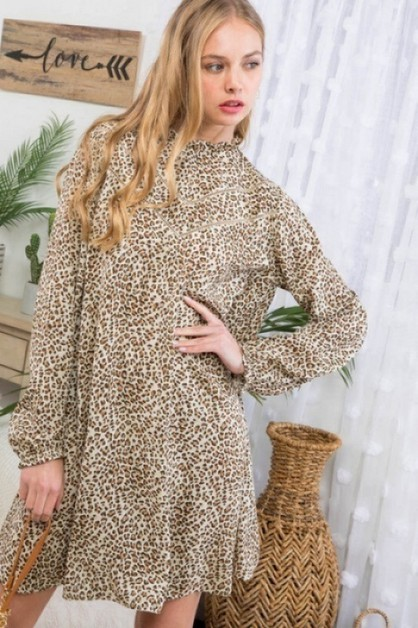 Mockneck Leopard Print Pocket Dress - orangeshine.com