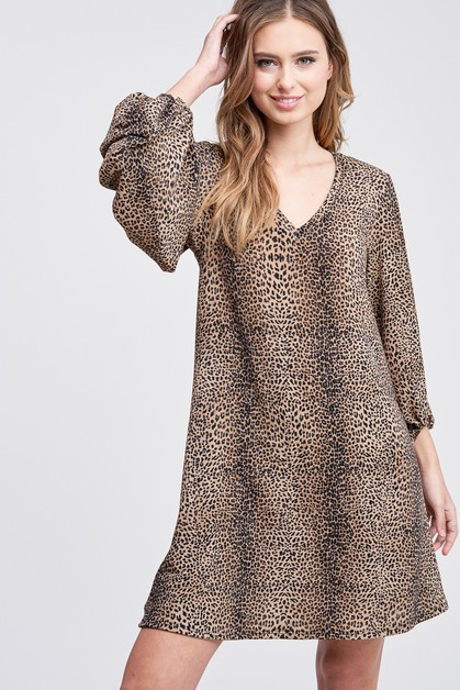 Puff Sleeve Cheetah Print Knit Dress - orangeshine.com