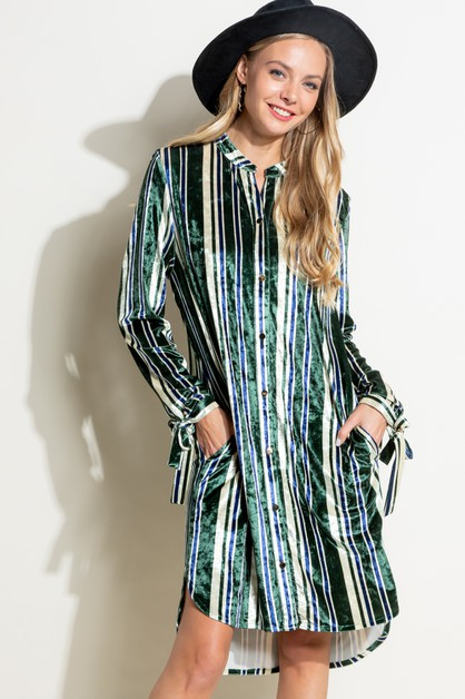STRIPE VELVET BUTTON SHIRTS DRESS - orangeshine.com