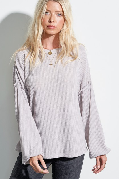 Waffle Knit Puff Balloon Sleeve Top - orangeshine.com